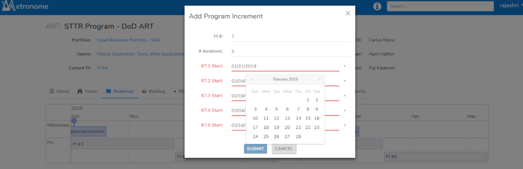 Reset the Program Increment and Iteration Dates